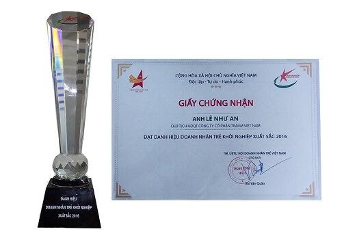 danh hiệu doanh nhân trẻ khởi nghiệp xuất sắc năm 2016 Traum Việt Nam