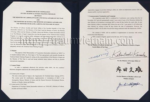 Thỏa thuận MOC - thực tập sinh sẽ được làm việc tại Nhật 5 năm
