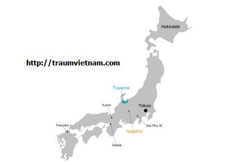 Bản đồ vị trí Toyama Nhật Bản