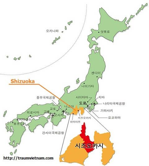Vị trí địa lý của tỉnh Shizuoka Nhật Bản