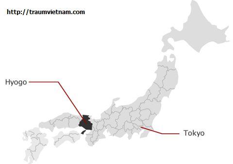 Vị trí địa lý của tỉnh Hyogo Japan