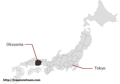 Vị trí địa lý của tỉnhOkayama Japan