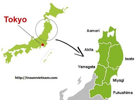 Vị trí địa lý của tỉnh Akita Japan