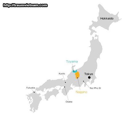 Vị trí địa lý của tỉnh Nagano Nhật Bản