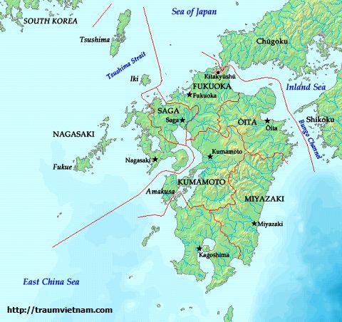 Vị trí địa lý của tỉnh Fukuoka Japan