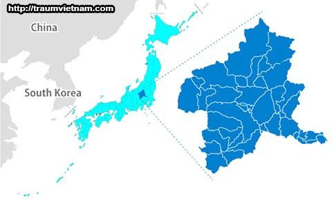 Vị trí địa lý của tỉnh Gunma Japan