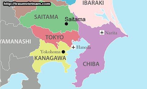 Vị trí địa lý của tỉnh Saitama Nhật Bản