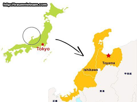 Vị trí địa lý của tỉnh Ishikawa Nhật Bản
